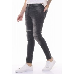 Jean homme skinny black délavé et zip-legg on move    - 3017 R2
