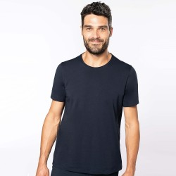 T-shirt bio col à bords francs manches courtes homme