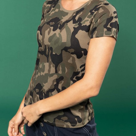 T-shirt camouflage manches courtes femme